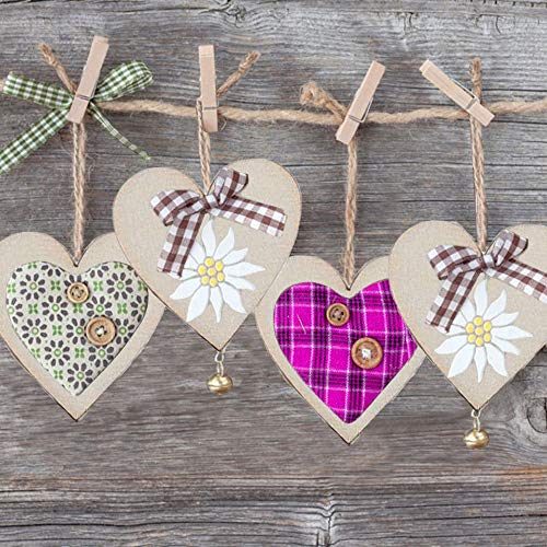 FJSM 100 Pieces Blank Wooden Heart Rustic Wooden Hanging Hearts with Holes Unpainted Wooden Love Heart Embellishments for Card Making Art Crafts DIY House Decoration