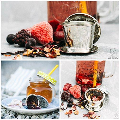 Premium Edelstahl Teeei | hochwertiges Teesieb & Teefilter | Teekugel für losen Tee | feinster Teegenuss im edlem Veloursbeutel (grau) von wellvary - 2er Set - 6