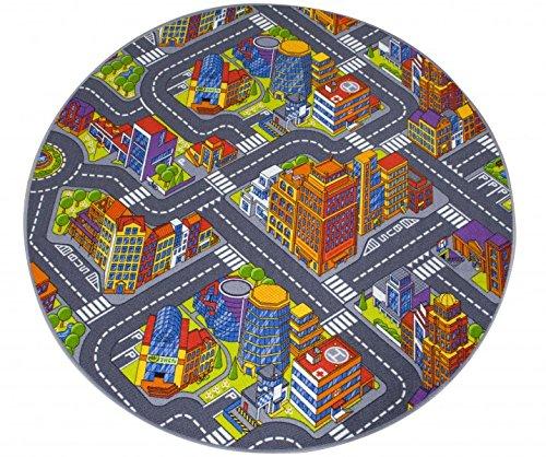 havatex Kinderteppich Straße 3D Optik rund - Spielteppich schadstoffgeprüft pflegeleicht und | schmutzabweisend robust strapazierfähig | Kinderzimmer Spielzimmer, Farbe:Multicolor, Größe:100 cm rund (Prinzessin-spiel-teppich Disney)
