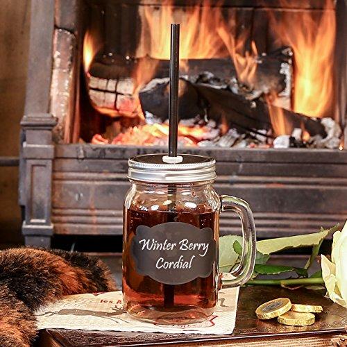 Kreide Label Mason Jar mit Griff und Stroh–Ideal für Grown Up Cocktails oder Saft für Kinder–H13x cm inkl. Griff - Sippy Saft Cup