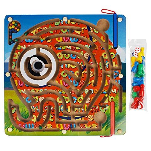 Andux Zone 2 en 1 Madera Laberinto Magnético Puzzle Maze Juego de Tablero de Madera Ajedrez de vuelo Animales Número Laberinto Juguetes para niños CXMG-01 (Elefante)