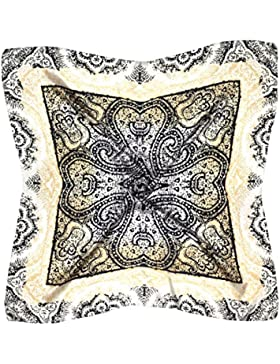 Bees Knees Fashion - Bufanda - Pañuelo Cuadrado De Seda Fina Estampado Paisley Blanco Negro