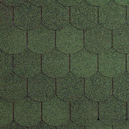 Preisvergleich Produktbild [14, 33 EUR / m²] Bitumen-Dachschindeln Biberschwanz grün,  3 m²,  Dachbelag,  Bitumenschindeln
