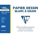Clairefontaine 96185C - Pochette Dessin Scolaire - 10 Feuilles Papier Dessin Blanc à Grain - A3 29,7x42 cm 180g - Idéal pour