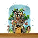 ilka parey wandtattoo-welt® Elfentür aus Echtholz mit zauberhaftem Baumhaus in geheimnisvollem Zauberwald mit kleiner Elfe Anouki und Rehlein Belli, Eichhörnchen Bo und Billy und Häschen Fips e14 - ausgewählte Farbe der Holztür: *rosa*