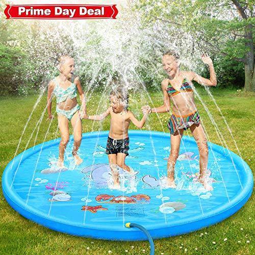 DOOKEY Sprinkle and Splash Play Mat, 170cm Water Splash Pad Pool Summer Outdoor Games Garden Spray Toys for Kids Toddlers (Marine pattern)