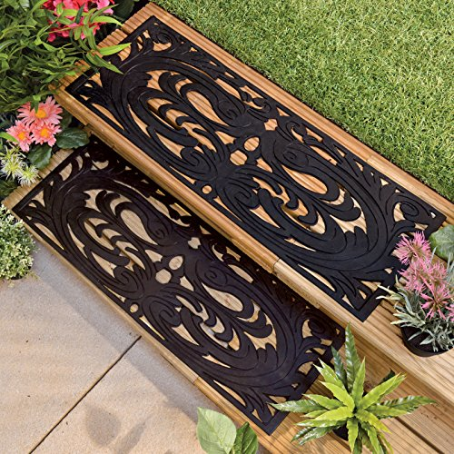 Garden Step Rubber Tread Grip Mats Non Slip Set of 2 Step Grippers Weatherproof