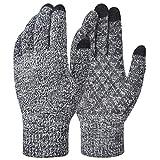 Lynlon Handschuhe Damen Winter, Handschuhe Herren Winter, WarmemFleece, HochempfindlicherTouchscreen, Silikon-Anti-Rutsch, Groß Elastizität, 2 Größen, Schwarz und weiß (M)
