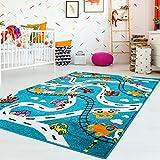 carpet city Kinderteppich Flachflor Moda Kids mit Autos, Straßen, Eisenbahn, Flugzeug in Türkis Größe 140/200 cm