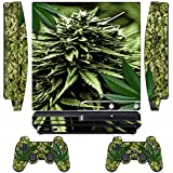 GameXcel ® PS3 Skin Sticker Custom Mod Cover Cases Decals Play Station 3 Slim Decal Modding Game Vinyl Skins for Sony PlayStation 3 Slim Console and 2 Wireless Remote Controllers - skunk bud