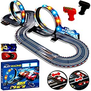 New Large Remote Control Light Up Slot Car Racing track Kids Toy Childrens Game Boys Xmas Gift