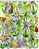 Printed & Designer Shower Curtain Full Size (66 x 72) with Rust Proof Eyelet's 100% Water Proof Latest Trending Modern Design : Flowers and Bird Painting artworkREF : 1009