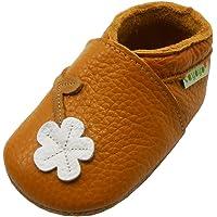 SAYOYO Fleur de Prunier Chaussures de bébé en Cuir Souple Chaussures Semelle Douce(0-6 Mois,S Orange) 17/18