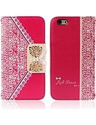 Malloom® Coque Pour iPhone 6 - Étui À Rabat En Cuir (Rose Vif) Pour iPhone 6