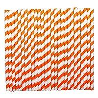 tecmac Eco-Friendly and Disposable White - Dark Orange Stripes Paper Straws | 8 mm | 25 Pieces
