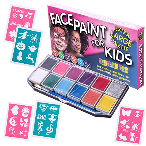 face-paint-kit-with-30-stencils-xx-large-face-painting-set-for-kids-12-colors-party-pack-glitter-gel