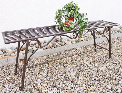 Gartenbank Wetterfest ohne Rückenlehne aus Metall Braun CUCCIU-XL 120cm Bank Metallbank Sitzbank Garten Rost-Optik