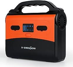 X-DRAGON Inverter Stromerzeuger 150Wh/40800mAh Solar Stromerzeuger 220V AC 12V DC und USB Ausgang Aufgeladen durch Solar Panel/Steckdose/Auto 40Ah Lithium Polymer Akku