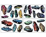 24 Muscle Car Set Wandtattoo mehrfarbig Auto US Car in 3 Größen (4x16x26cm mehrfarbig)