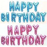 NUOLUX HAPPY BIRTHDAY Luftballons,Mylar Folie buchstaben luftballons,16 Zoll(rosa) - 2