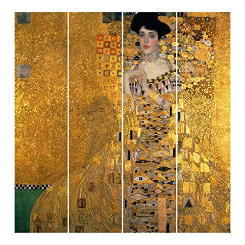 Bilderwelten Tende scorrevoli set - Gustav Klimt - Portrait Of Adele Bloch-Bauer I - 4 Pannelli, tenda a pannello scorrevole tenda a pannello incl. sistema di supporto, Tipo di montaggio: Supporto a soffitto, Misura (AxL): 250 x 240cm (4 pannelli da 250 x 60cm)