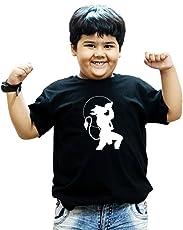 HEYUZE 100% Cotton Printed Black Half Sleeve Kids Boys Round Neck T Shirt with Hanuman Design