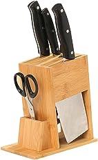Bambus Messerblock, Multifunktionale 7 Leere Slots Holz Messerständer Cutter Ohne Cutter, Küche Zubehör Lagerung Regal Lüften Design & Easy Reinigung, Keine Schimmel Und Anti-Bakterielle - Colinsa