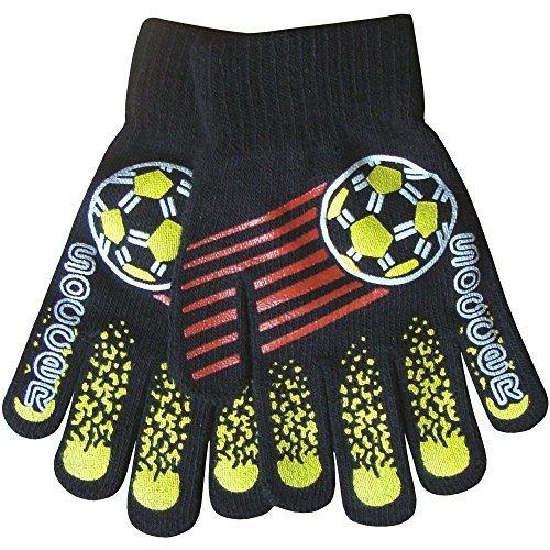 Boy's Warm Winter Thermal Knit Funky Design Magic Gripper Gloves (Soccer)