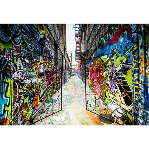 YongFoto Fotohintergrund, 25,4 x 2,4 m, Vinyl, Graffiti, Street Art, Iron Gate Old City Buildings Street Hip Hop Fotohintergrund, Event, Party, Dekoration, Hochformat, Fotoshooting, Studio, Requisiten (Party City Dekorationen Geburtstag)