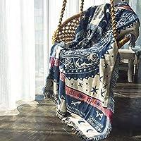 KinTTnyfgi Felpa Vintage Estilo étnico de algodón Manta de Punto Informal Manta sofá Manta de algodón