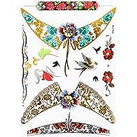 ღ Yh118 Flash Tattoo tatuaje temporal pegatinas etiquetas pulseras de oro joyas de oro etiqueta engomada de la hoja de Metal-metálico del cuerpo