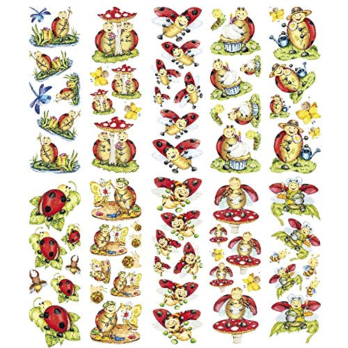 Transparent-Sticker, 10 Bogen à 10cm x 30cm | Bunte Aufkleber zum Basteln & Dekorieren (Marienkäfer Lucky Lo)
