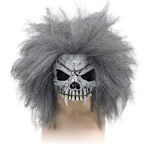 Halloween Skull Half Face Mask & Hair Zombie Fancy Dress (máscara/careta)