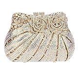 Bonjanvye Multicoloured Studded Diamond and Rhinestone Rose Print Bouquet Clutch Handbag AB Gold