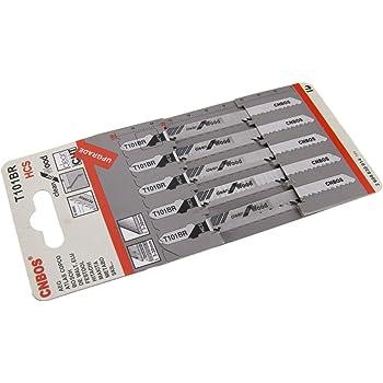 Black /& Decker Elu Hitachi Jigsaw Blades T101BR for Down Cutting Laminates and Veneers High Carbon Steel HCS 10 Pack Fits AEG Metabo and Skil by Yourspares Makita Bosch Dewalt Festool