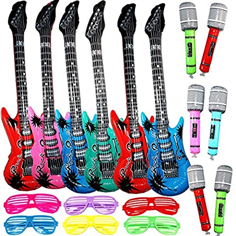 Joyin Toy Inflatable Guitar Disco Party Decorations Rock Star Toy Set Inflatable Party Props - 6 Inflatable Guitar (38 Inches), 6 Microphones and 6 Shutter Shading Glasses