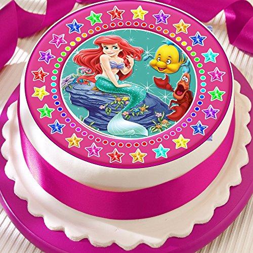 rjungfrau pink star Bordüre Birthday vorgeschnittenen Essbarer Zuckerguss Kuchen Topper Dekoration (Kleine Meerjungfrau-kuchen Topper)