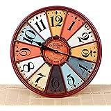 kinine Color creativo retro europeo redondo reloj de pared fina pared reloj restaurante con estilo americano