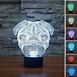 3D Lamp, EONANT 3D Night Lights LED USB Touch mit 7 Color Optical Illusion Schreibtischleuchten für Kinderzimmer Home Decoration (Dog)