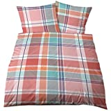 Biberna Castell–Juego de cama turquesa naranja algodón 155x 220+ 80x 80cm