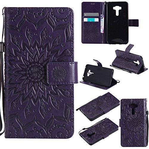 Nancen Tasche Hülle für,ASUS ZenFone Selfie ZD552 Hülle,ASUS ZenFone Selfie ZD552 Leder Wallet Tasche Brieftasche Schutzhülle, Prägung Sonnenblume Muster