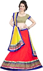 Mira Creation Women's Net A-Line Semi-Stitched Lehenga Choli, Free Size (Kedar Red)