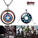 #6: 2 PC AVENGERS SET - CAPTAIN AMERICA REVOLVING SHIELD PENDANT & IRON MAN'S ARC REACTOR SILVER COLOUR TRENDY IMPORTED 3D GLASS DOME METAL PENDANT WITH CHAIN. LADY HAWK DESIGNER SERIES 2018. ❤ LATEST ARRIVALS - RINGS & T SHIRT - CAPTAIN AMERICA - AVENGERS - MARVEL - SHIELD - IRONMAN - HULK - THOR - X MEN - DC - BATMAN - SUPERMAN - SPIDERMAN - DEADPOOL - FLASH - SUPER HERO - NOW ON SALE IN AMAZON ❤