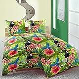 Linon Baumwoll Bettwäsche 135x200 4 tlg Dschungel grün