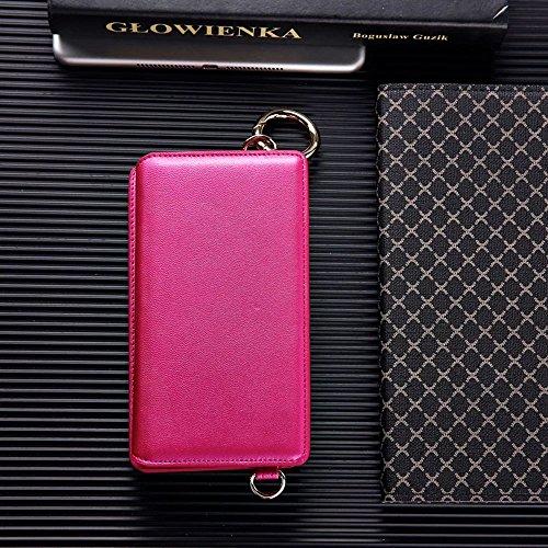 Vandot 3 in1 Reißverschluss Viele Karte Card Slot PU Handtasche für iPhone 6 4.7 Zoll Leder Wallet Magnet Case Hülle Brieftasche Luxus Flip Business Zipper Tasche Holster Loch Shell Schutz Bag Etui +  Rot