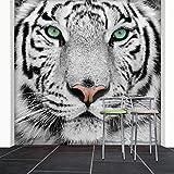 WTD white tiger 274 x 254 cm-papier peint noir/blanc/motif lion raubkatze deco.deals