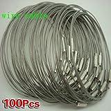 SODIAL (R) 100pcs in acciaio inox Vite di bloccaggio del filo portachiavi Portachiavi Cable Accessori Outdoor