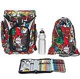 4 Teile LEGO Schulrucksackset Explorer Ranzen für Jungen + Sportbeutel + gefülltes Mäppchen + Flasche (Ninjago Comic 1806)