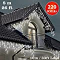 ICICLE Lights 220 LED Bright White Indoor & Outdoor Snowing Christmas Lights Fairy Lights 8m / 26 ft with 10m / 33 ft Lead Wire- Multi-Action - Green Cable from ANSIO