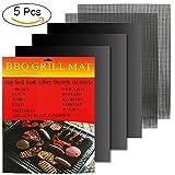 Hootracker BBQ Gril Ensemble DE 5 - Non Stick Four en Téflon Tapis de Cuisson - Parfait pour la Cuisson sur Le Gaz, Charbon de Bois, Four et Grils électriques